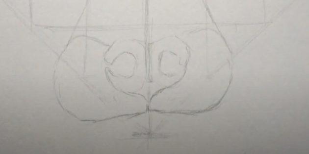 Нарисуйте два полукруга