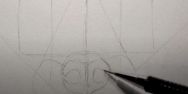 Как нарисовать лису: Нарисуйте линию
