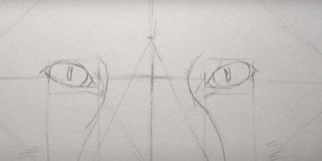 Как нарисовать лису: Наметьте зрачки