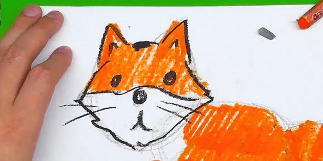 Как нарисовать лису: Обведите голову и нарисуйте усы
