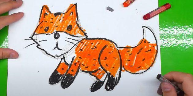 Как нарисовать лису: Нарисуйте шерсть
