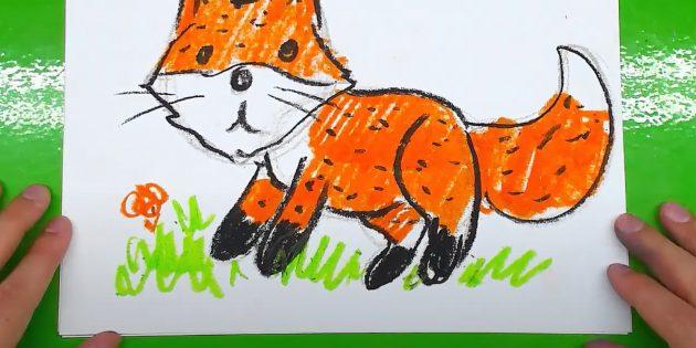 Как нарисовать лису: Нарисуйте траву и цветок