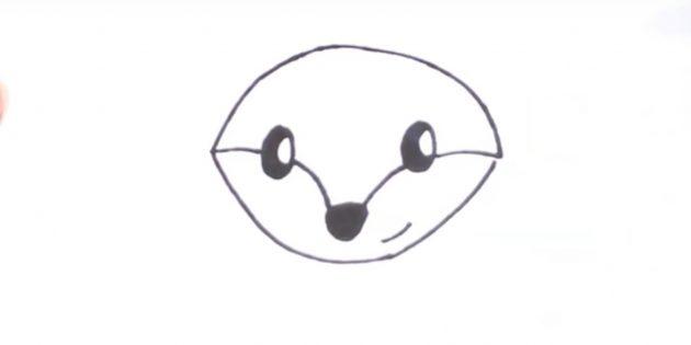 Как нарисовать лису: Нарисуйте подбородок и улыбку