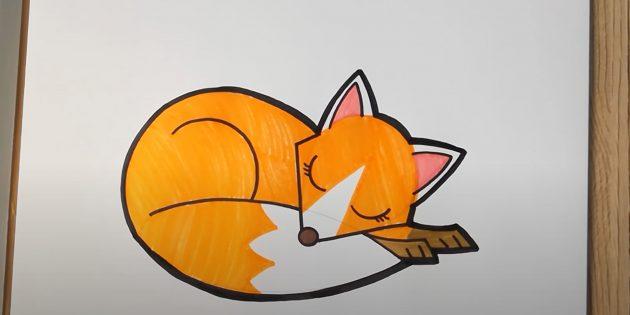 Лежащая мультяшная лиса
