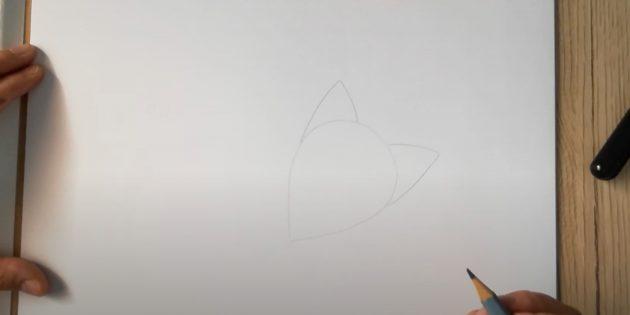 Как нарисовать лису: Нарисуйте голову и уши