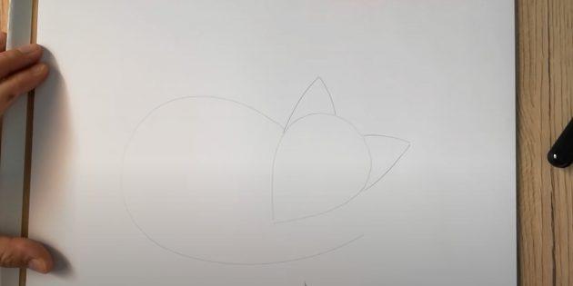 Как нарисовать лису: Сделайте набросок туловища