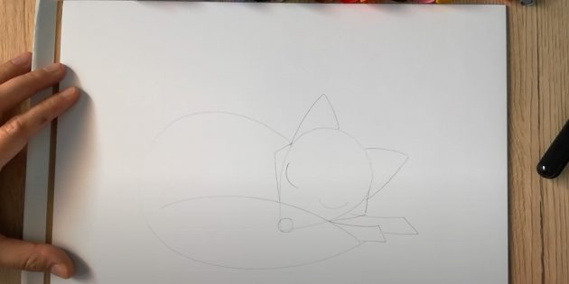 Как нарисовать лису: Заострите морду, нарисуйте нос и глаза
