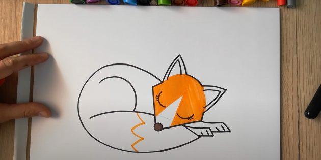 Как нарисовать лису: Обозначьте кончик хвоста