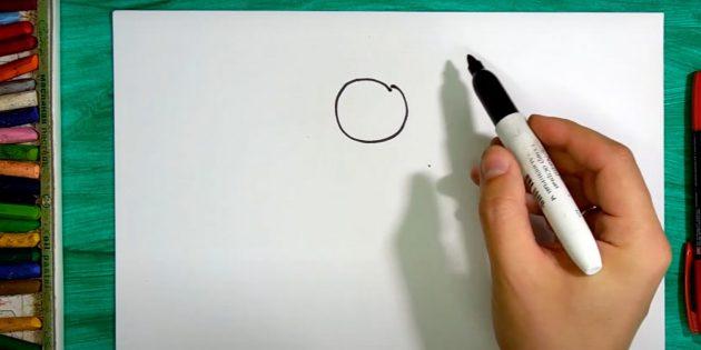 Как нарисовать колокольчик: изобразите круг