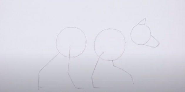 Как нарисовать лису: Наметьте задние лапы