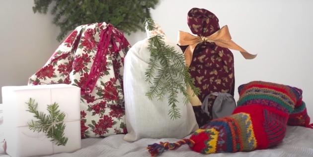 варианты упаковки подарков: тканевый мешочек