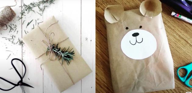 варианты упаковки подарков: бумажные пакеты из магазинов