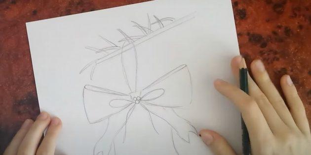 Нарисуйте иголки и нитку