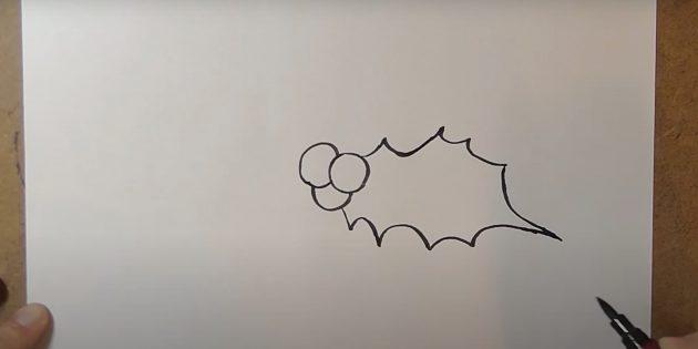 Как нарисовать колокольчик: нарисуйте лист остролиста