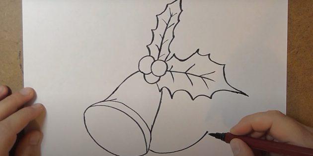 Как нарисовать колокольчик: проведите изогнутую линию