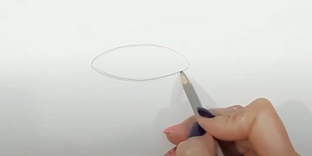 Как нарисовать колокольчик: изобразите овал