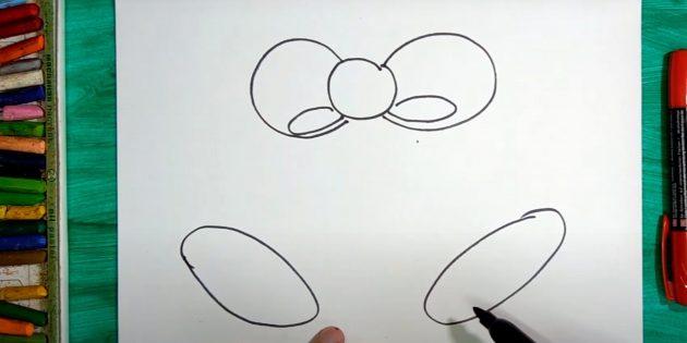 Как нарисовать колокольчик: нарисуйте второй овал