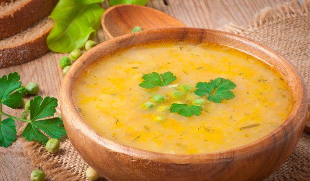 Быстрый суп с зелёным горошком и ветчиной