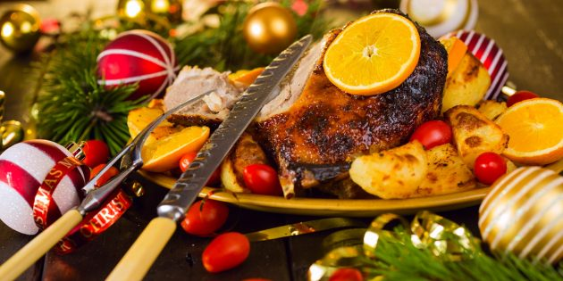 Рождественский гусь с апельсинами