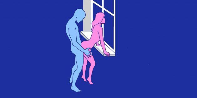 Секс на подоконнике: стоя сзади