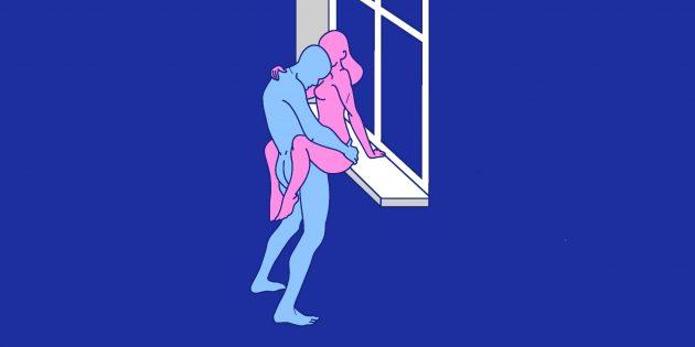 Секс на подоконнике: поза навесного замка