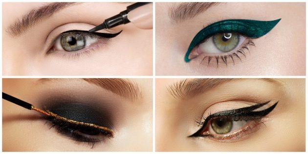 Как сделать вечерний макияж: нарисуйте стрелки