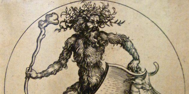 Гравюра, изображающая дикаря
