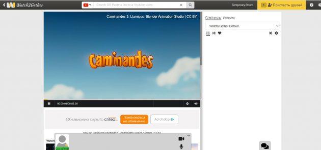 Сайты для совместного просмотра фильмов: Watch2Gether