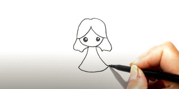 Как нарисовать ангела: дорисуйте вторую половину волос и платье