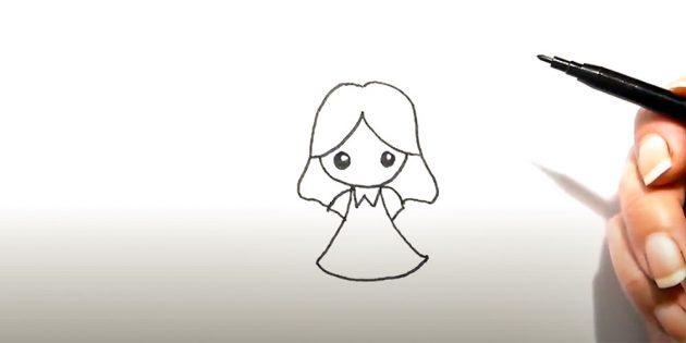 Как нарисовать ангела: добавьте воротник и рукава