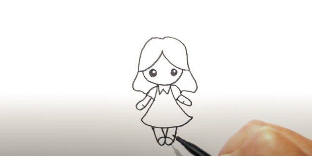 Как нарисовать ангела: нарисуйте ручки и ножки