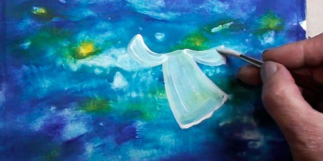 Как нарисовать ангела: закрасьте платье