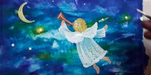 Как нарисовать ангела: изобразите луну и звезды