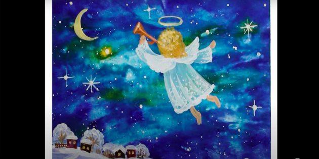 Как нарисовать ангела красками