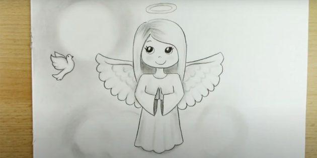 Как нарисовать ангела карандашами