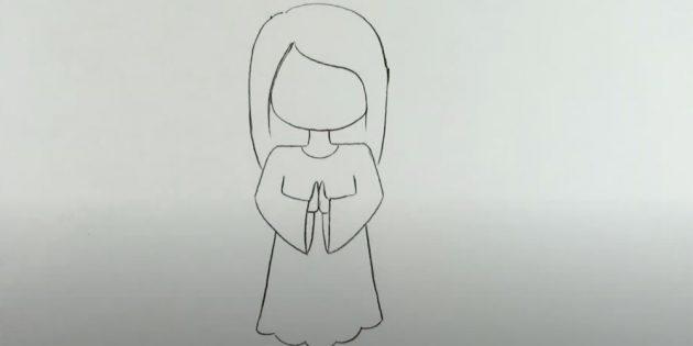 Как рисовать ангела: нарисуйте платье