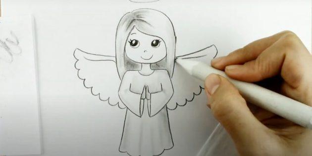 Как рисовать ангела: добавьте тени на волосах и одежде