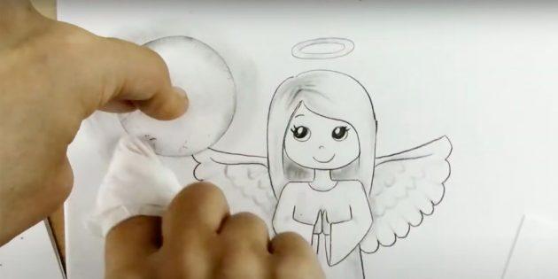 Как рисовать ангела: обведите форму