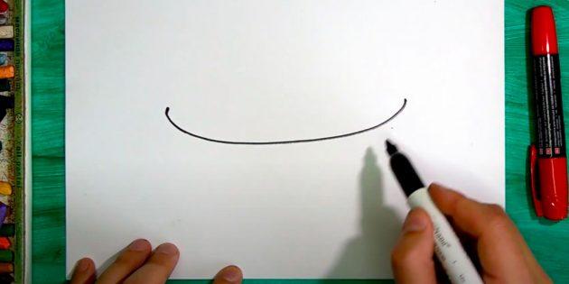 Как нарисовать подарки: Нарисуйте изогнутую линию