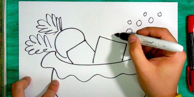 Как нарисовать подарки: Нарисуйте ещё подарки и ягоды