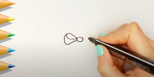 Как нарисовать подарки: Нарисуйте круг и лепесток