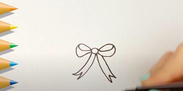 Как нарисовать подарки: Нарисуйте бантик