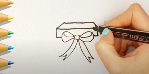 Как нарисовать подарки: Нарисуйте крышку