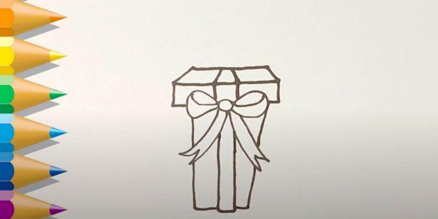 Как нарисовать подарки: Изобразите коробку