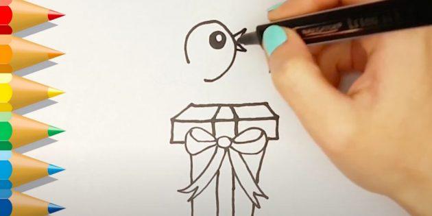 Как нарисовать подарки: Нарисуйте голову птицы