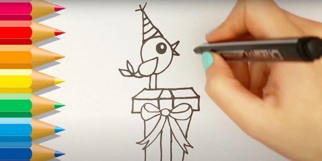 Как нарисовать подарки: Добавьте колпак и хвост
