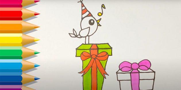 Как нарисовать подарки: Раскрасьте клюв, бант и ноту