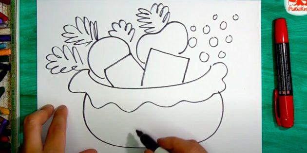 Как нарисовать подарки: Добавьте зелени