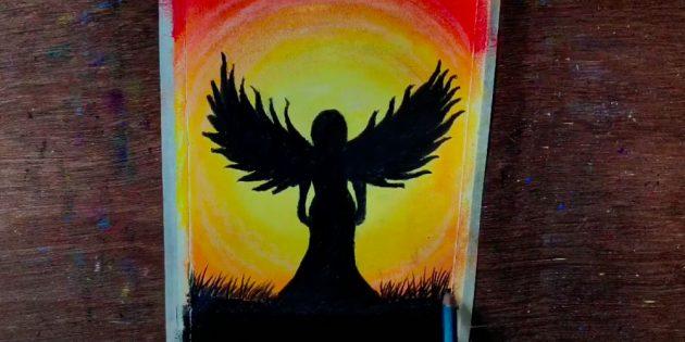 Как нарисовать ангела пастелью