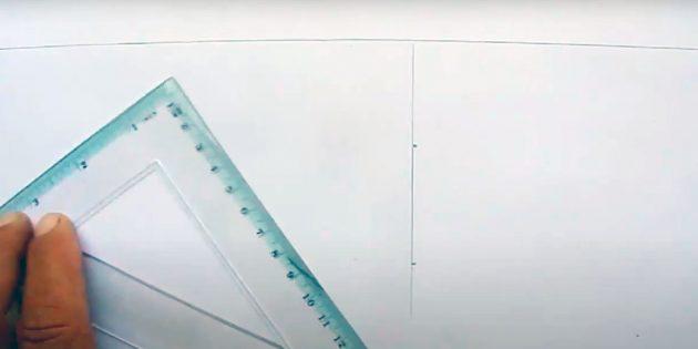 Как нарисовать подарки: Нарисуйте горизонт и центральную линию